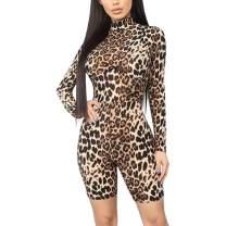 AZHONG Women's Sexy Long Sleeve Tigerskin Snakeskin Print Back Zipper Bodycon Romper Shorts Jumpsuit Pants Club Outfits