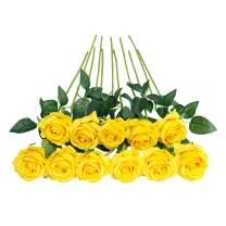 JUSTOYOU 10pcs Artificial Rose Silk Flower Blossom Bride Bouquet for Home Wedding Decor (Yellow)