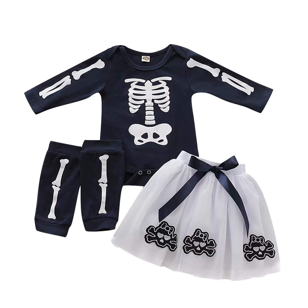 Jobakids Baby Girls Long Sleeve Halloween Shirt and Skirt Set Skull Tutu Sets Chiffon Dress with Leg Warmer