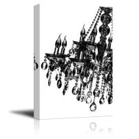 """wall26 Canvas Wll Art - Black Crystal Chandelier on White Background - Giclee Print and Stretched Ready to Hang - 32""""x48"""""""