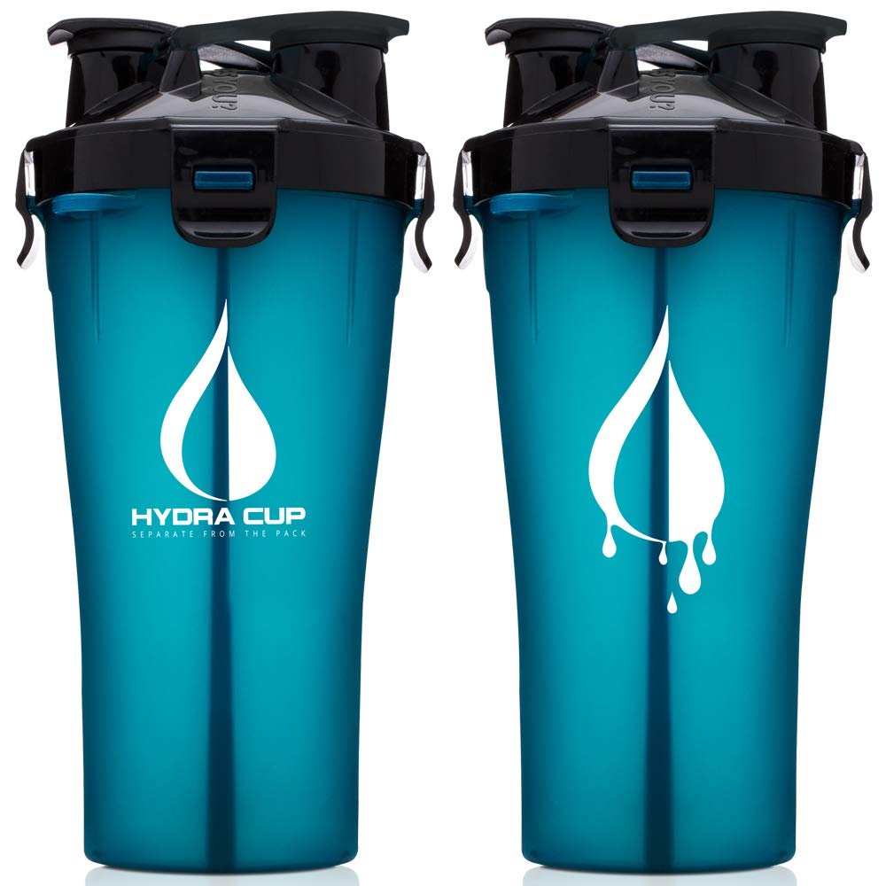 Hydra Cup - 30oz Dual Threat Shaker Bottle, Shaker Cup + Water Bottle, 2 in 1, Leak Proof, Awesome Colors, Save Time & Be Prepared, Shark Blue