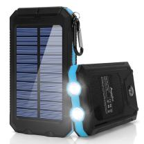 Solar Charger, BESWILL 10000MAH Solar Phone Charger Waterproof External Battery Pack Dual USB Solar Power Bank with 2 Flashlights Carabiner and Compass for Smart Devices