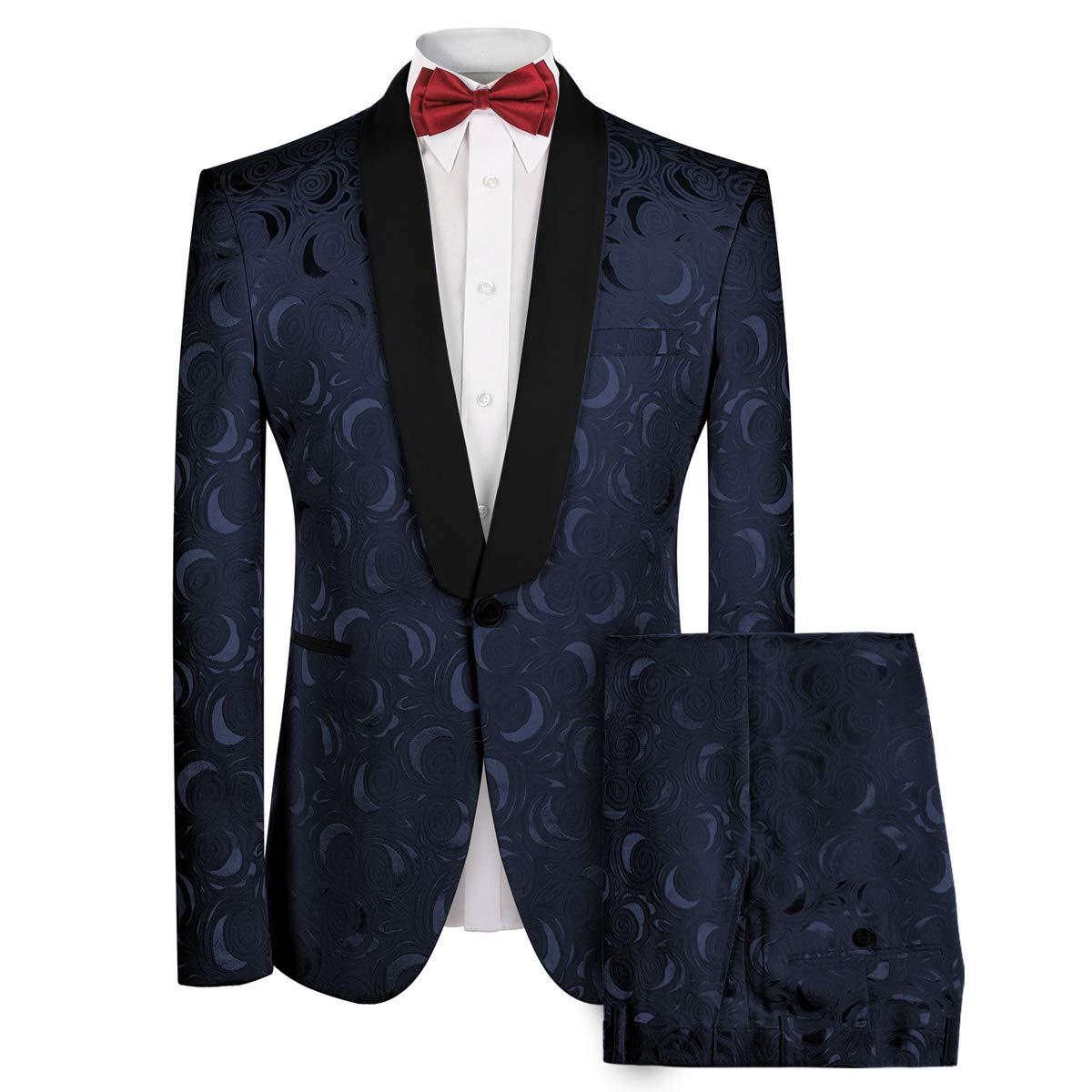 MAGE MALE Men's 2-Piece Floral Printed Suit Slim Fit Elegant Single Breasted Notch Lapel Wedding Blazer Pants Sets