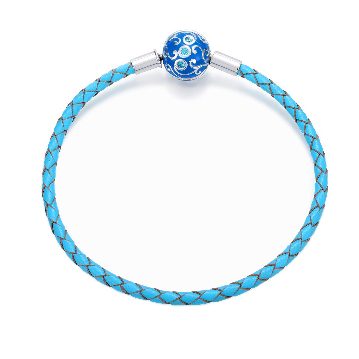 FOREVER QUEEN GenuineBlue Braided Leather Bracelet with 925 Sterling Silver Snap Clasp Charms CZ for Women Teen Fits European Beads Charm