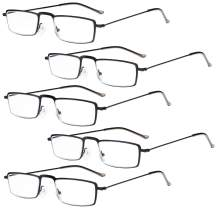Eyekepper 5-Pack Stainless Steel Frame Half-Eye Style Reading Glasses Readers Black +3.0