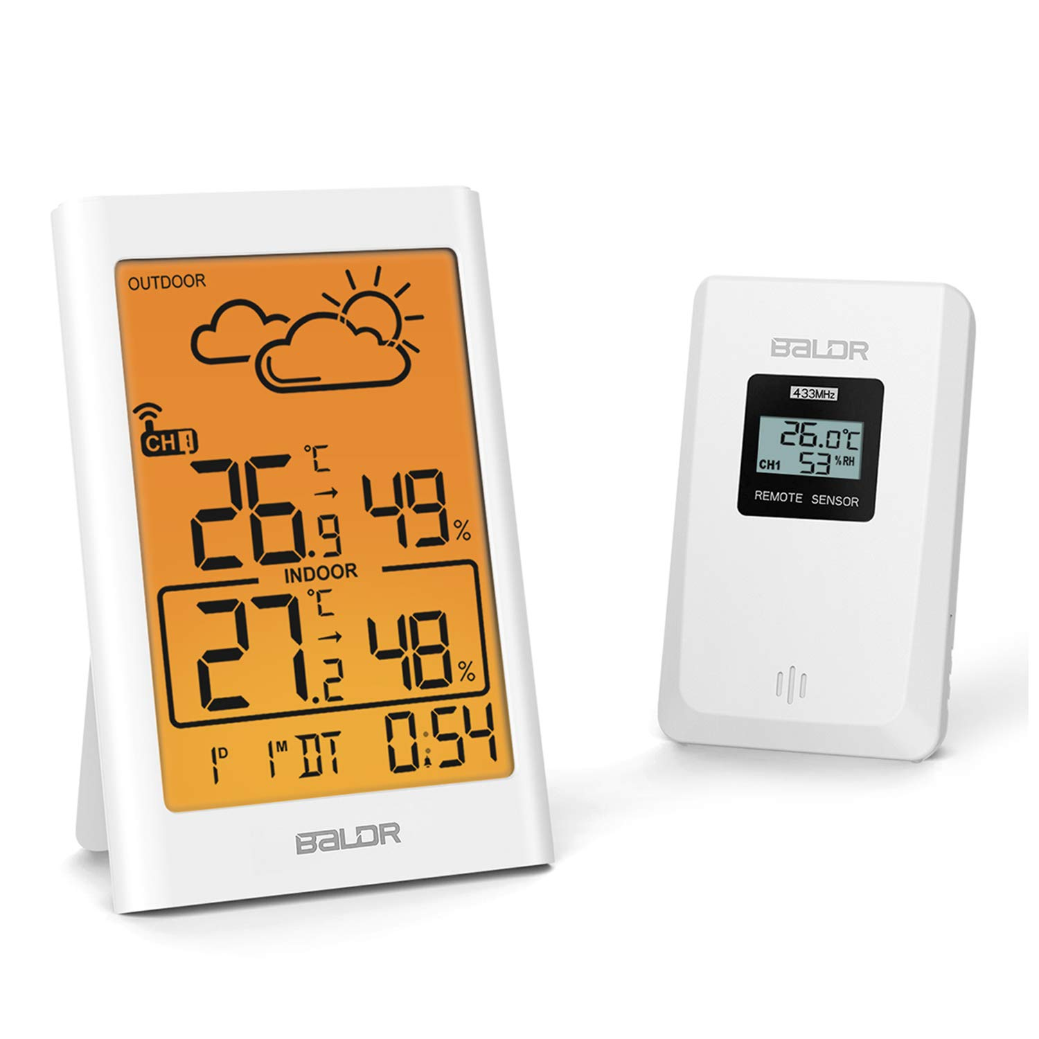 Digital Indoor Outdoor Thermometer Hygrometer Wireless, Temperature Humidity Guague Weather Station for Baby Kids Room Bedroom Greenhouse with OG LCD Backlit °C/°F MIN/MAX Alarm Clock Remote Sensor