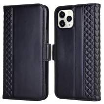 Tianniuke iPhone 11 Pro Max Case, Genuine Leather Flip Case with RFID Blocking and Kickstand Card Holder Wallet Case for iPhone 11 Pro Max 6.5-inch (2019) (Black)