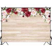 Allenjoy 7x5ft Rustic Wood Flowers Backdrop Red Floral Wooden Board Background for Bridal Shower Wedding Photography Baby Kids Birthday Party Banner Photo Booth Props