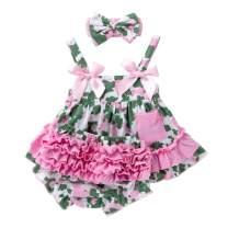 Infant Baby Girls 3Pcs Clothes Set Sundress+Ruffled Shorts+Headband Summer Outfit