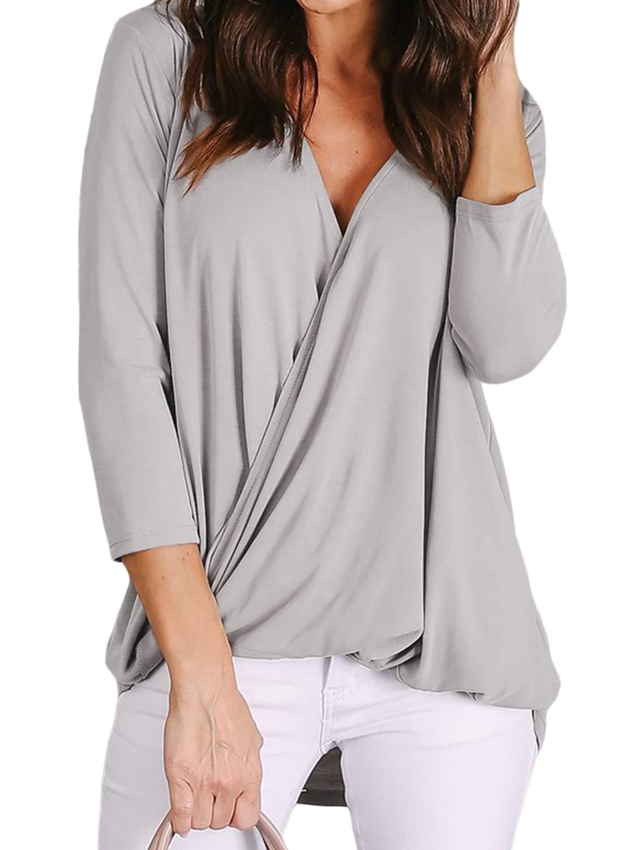 Lovezesent Womens 3/4 Sleeve V Neck Draped Wrap Blouses Twist High Low Shirt Tops