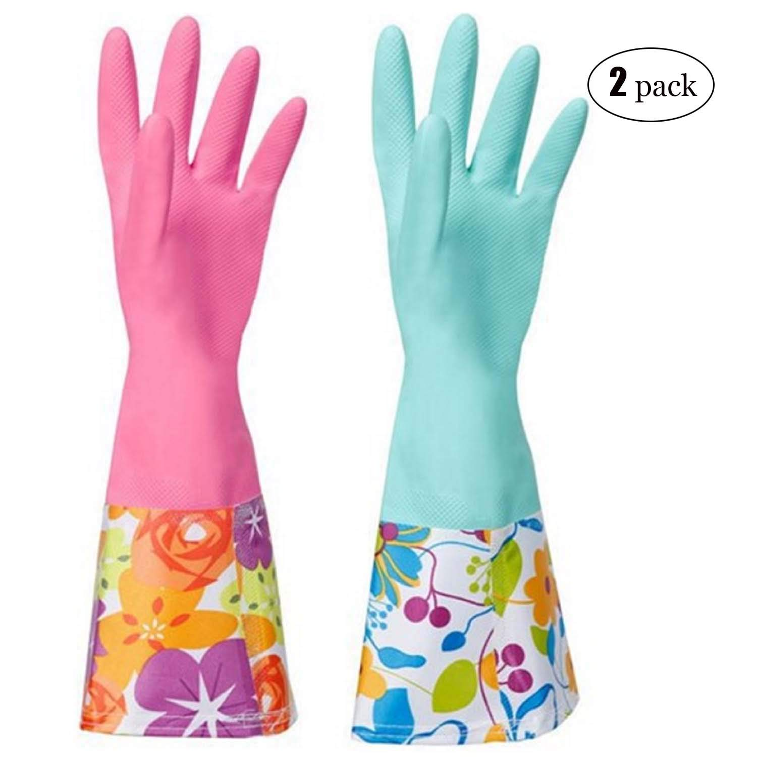 Household Rubber Cleaning Dishwashing Latex Gloves Non-slip Waterproof Reuseable(2-Pairs),Free get Cleaning Cloth (1-Pack) Rose Green