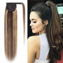 100% Remy Human Hair Ponytail Extension Wrap Around One Piece Hairpiece With Clip in Comb Binding Pony Tail Extension For Girl Lady Women Long Straight #4P27 Medium Brown&Dark Blonde 20'' 95g