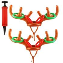 DTDR 2 Pack Inflatable Reindeer Antler Ring Toss Game Set, 2 Pieces Christmas Inflatable Reindeer Antler Hats and 8 Pieces Colorful Rings with Pump for Kids Family Christmas Party Accessories