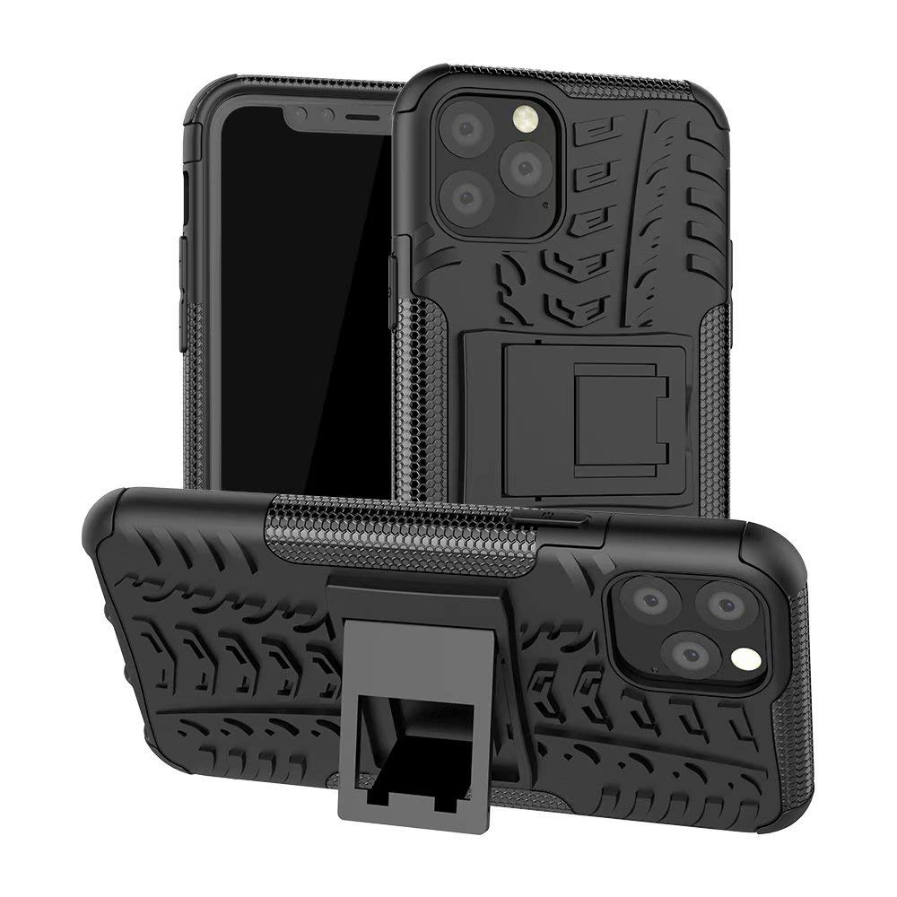 Lantier Hybrid Armor Shockproof Impact Protection Tough Hard Rugged Heavy Duty Combo Dual Layer Protective Case with Kickstand for iPhone 11 6.1 Inch (2019) Black