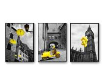 """Hepix Canvas Wall Art Big Ben Wall Paintings, Yellow Car Balloon and Umbrella Print Wall Pictures Black Frame Home Wall Decor for Bedroom Bathroom Living Room Modern Home Decorations 13""""X17""""X3PCS"""
