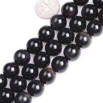 "JOE FOREMAN Black Obsidian Beads for Jewelry Making Natural Gemstone Semi Precious 12mm Round 15"""