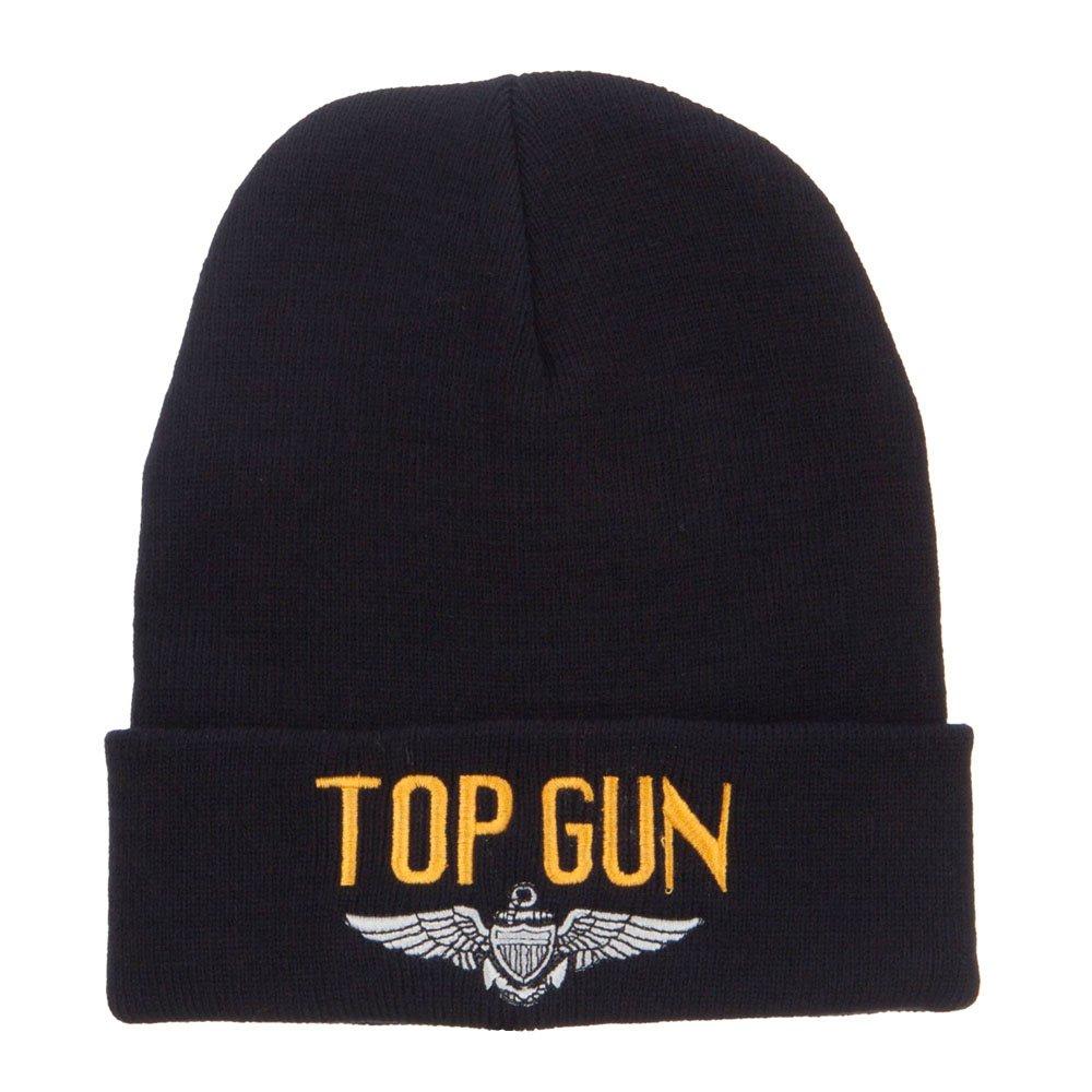 Navy Top Gun Wing Embroidered Cuff Beanie