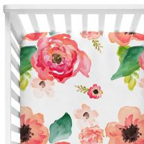"""Baby Floral Fitted Crib Sheet for Boy and Girl Toddler Bed Mattresses fits Standard Crib Mattress 28x52"""" (Coral)"""