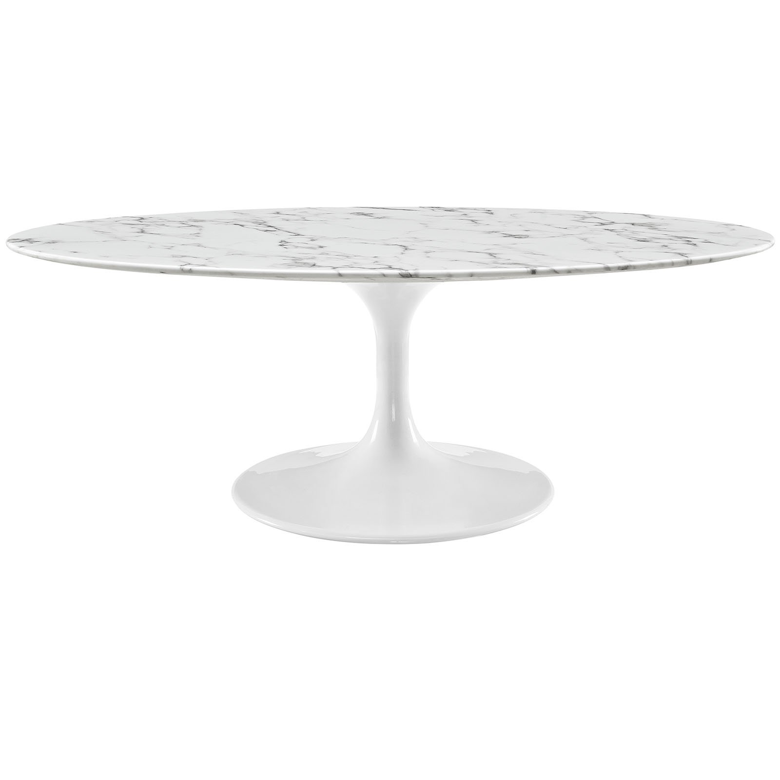 """Modway Lippa Mid-Century Modern 48"""" Oval Artificial Marble Coffee Table in White"""