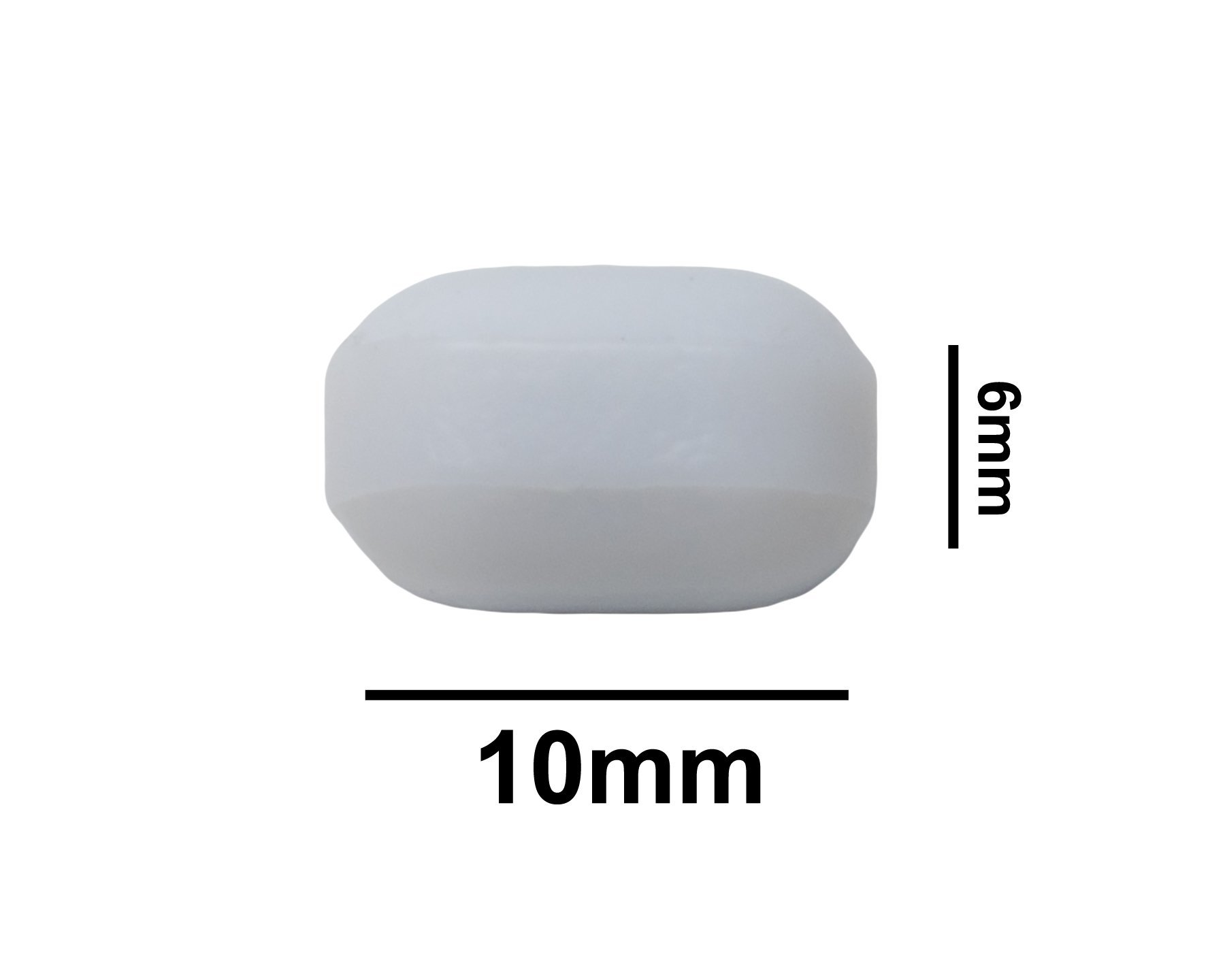Bel-Art Spinbar Teflon Polygon Magnetic Stirring Bar; 10 x 6mm, White, Without Pivot Ring (F37120-0010)
