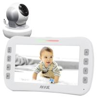 Video Baby Monitor with Remote-Controlled Camera and Wide Screen by Axvue, Grey, Model E650