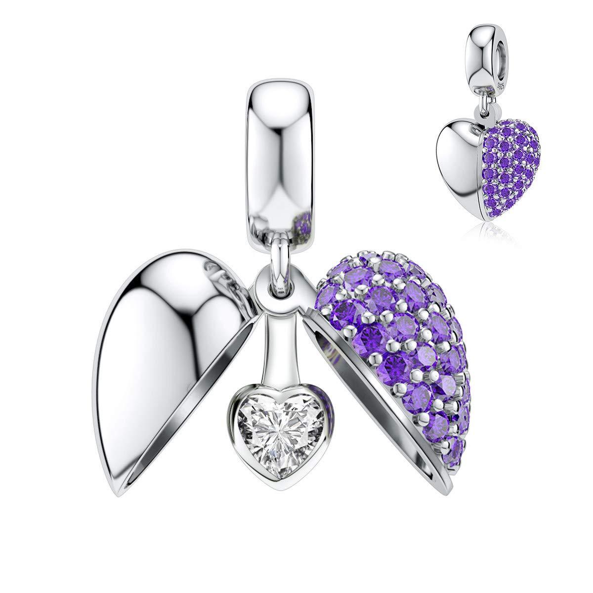 DALARAN Purple Heart Charm for Pandora Bracelet Sterling Silver Love Dangle Bead Charms for Women Girls Mothers Day Gift