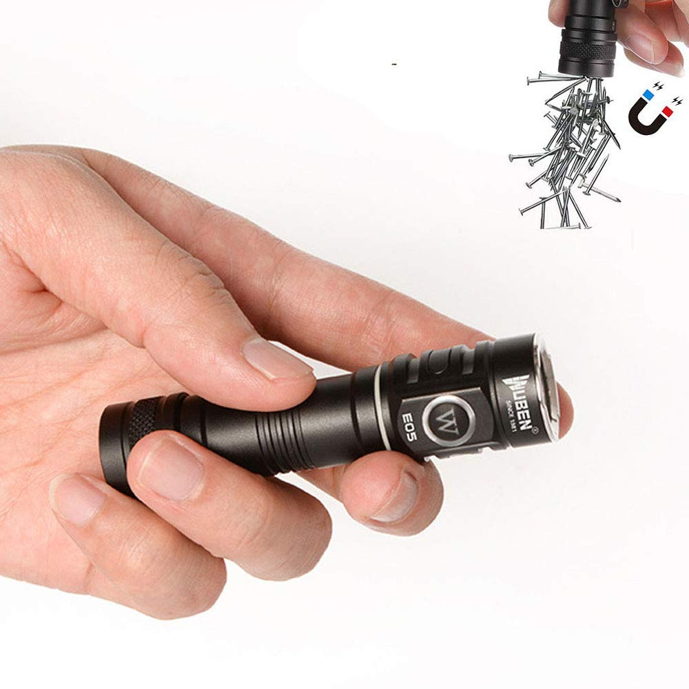 WUBEN E05 EDC Flashlight Super Bright 900 Lumens,Rechargeable Battery, Magnetic Tail, Cree LED Mini Hands Free Flashlight Torch