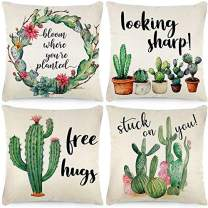 CDWERD 4pcs Summer Throw Pillow Covers 18x18 Inches Summer Decorations Watercolor Tropical Floral Summer Cactus Farmhouse Pillowcase Cotton Linen Cushion Case for Car Sofa Bed Couch