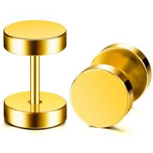 MOWOM Silver Gold Two Tone Black Stainless Steel Stud Earrings Tapers Plugs Tunnel Piercing Double Side