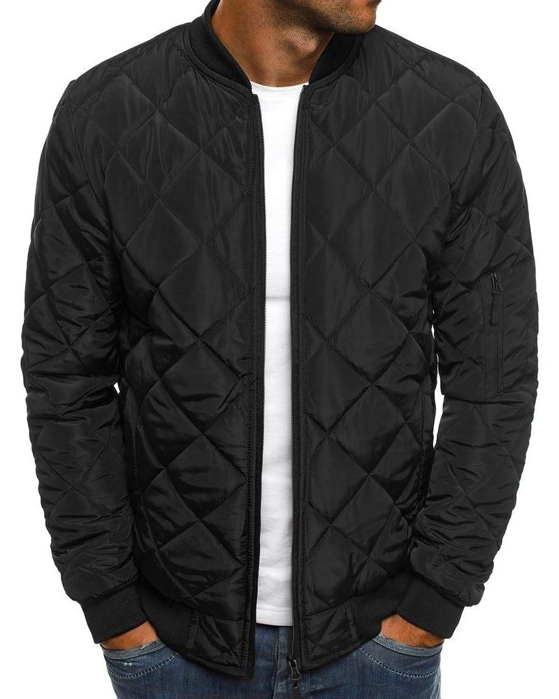 Gafeng Mens Bomber Jacket Quilted Diamond Casual Loose Fit Light Full Zip Fall Winter Coat Outwear