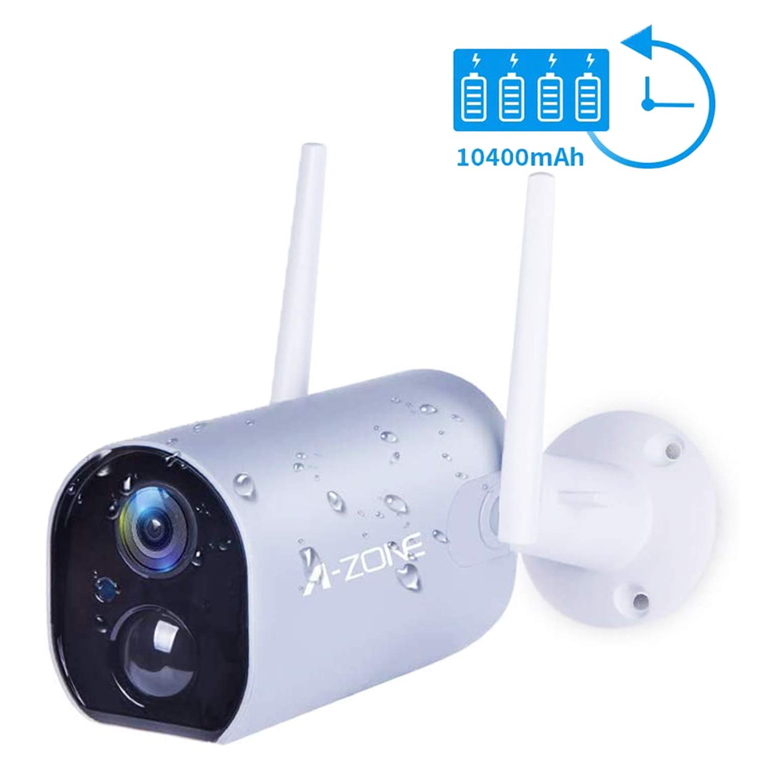 Battery Powered Outdoor Security Camera, Wireless Home Security Camera WiFi Camera Surveillance Camera 10400mAh Rechargeable Solar Power 1080P Night Vision Waterproof PIR Motion Detection 2-Way Audio