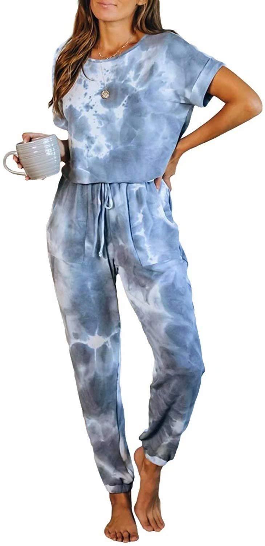 LACOZY Womens Tie Dye Printed Long Pajamas Set Keyhole Short Sleeve PJ Sets Jumpsuit Loungewear Nightwear
