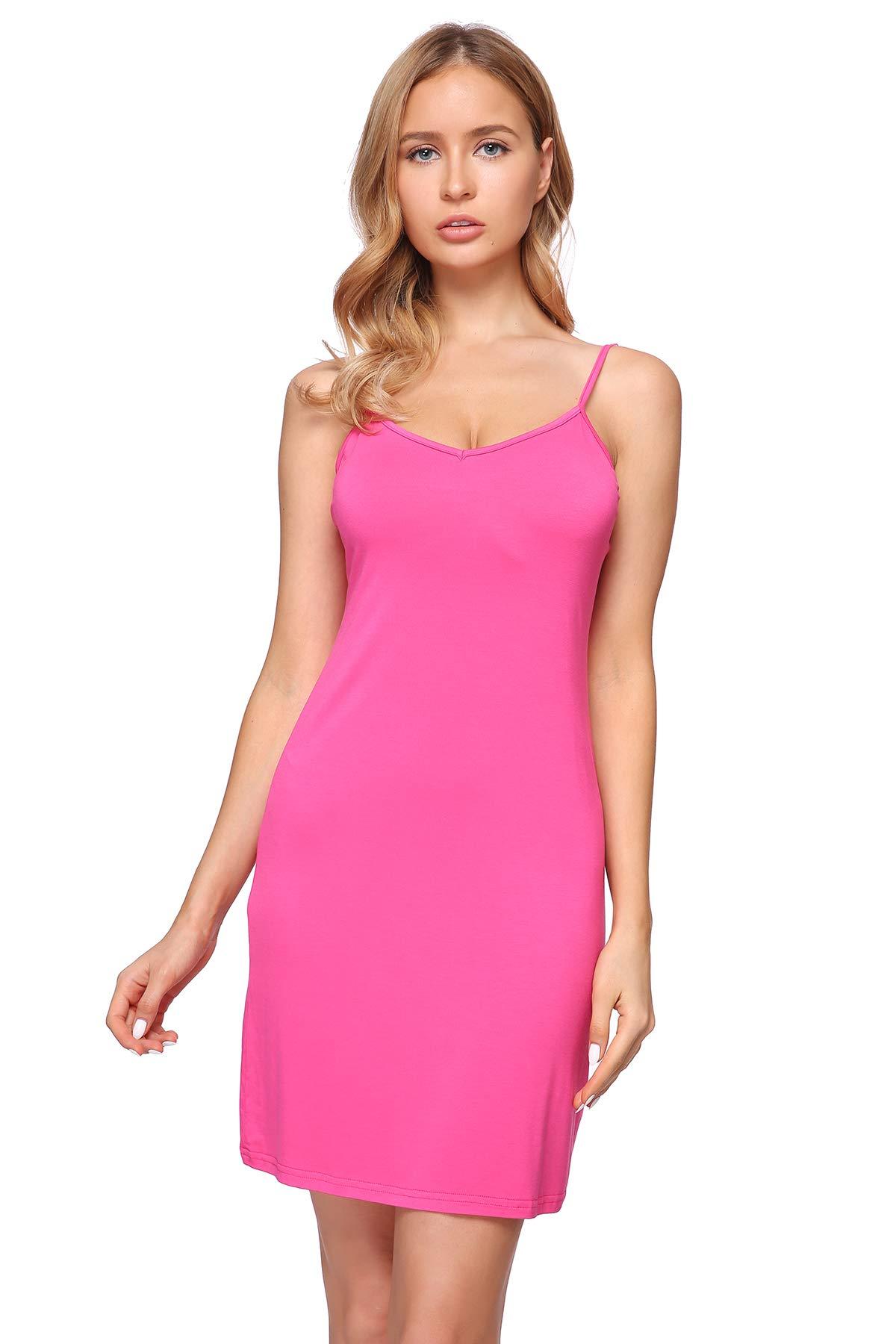 XUEERMEI Women's V Neck Sleeveless Spaghetti Straps Bodycon Cami Slip Dress