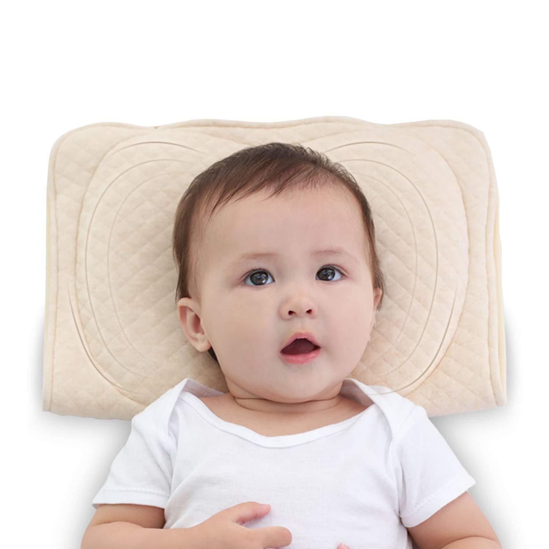 Baby Soft Flat Head Shaping Pillows for Newborns Sleeping Memory Latex Support Nursing Pillows Crib Pillows Best Gifts for Baby Girls Boys 0-12M(Khaki)