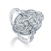 BERRICLE Rhodium Plated Sterling Silver Cubic Zirconia CZ Statement Art Deco Milgrain Navette Fashion Right Hand Ring