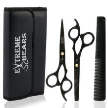 """Extreme Shears Professional Barber Scissors Hair Cutting Thinning Scissors, Thinning Shears, Professional Thinning Salon Sets, Japanese Stainless Steel 6.5"""" inch, Black Color with case"""