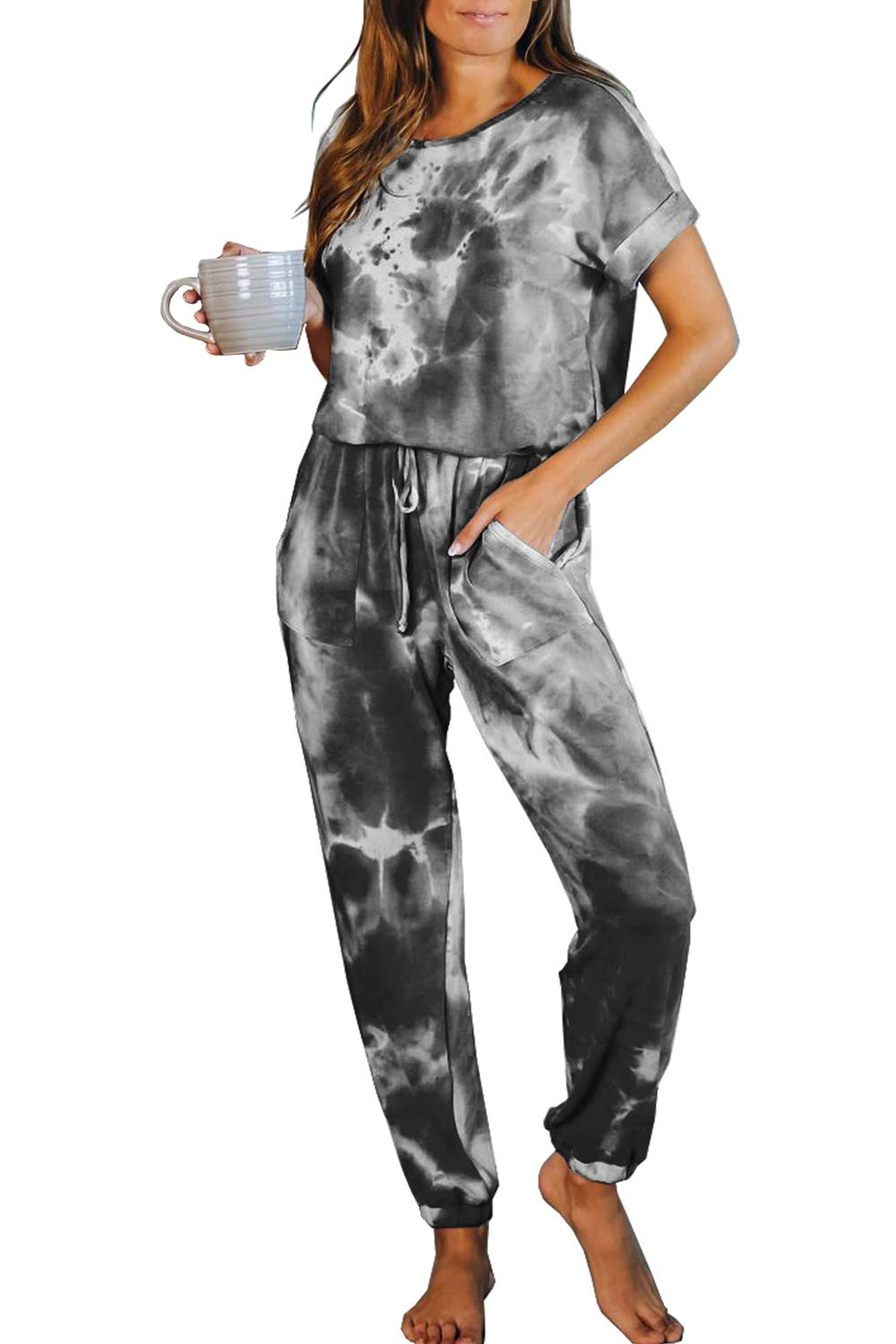 Fixmatti Women Short Sleeve Tie Dye Jumpsuit Long Pant Set Lounge Night Sleep Pjs