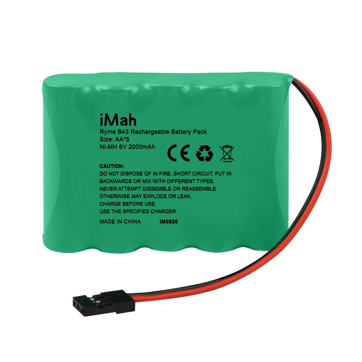 iMah 6V AA Battery Pack 2000mAh High Capacity Ni-MH Rechargeable with Hitec Plug Receiver RX Battery for RC Airplanes/RC Aircrafts and More
