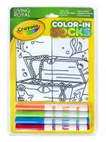 Living Royal Kid's Crayola Color-in Socks - Includes 1 Pair of Socks and 4 Fabric Markers (Treasure Chest)