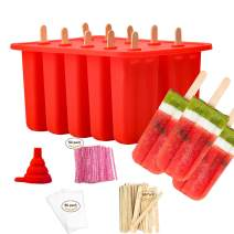 Popsicle Molds Shapes, Food Grade Silicone Frozen Ice Cream Popsicle Maker BPA Free, with 50 Wooden Popsicle Sticks 50 Popsicle Bags Silicone Collapsible Funnel(10 Cavities)