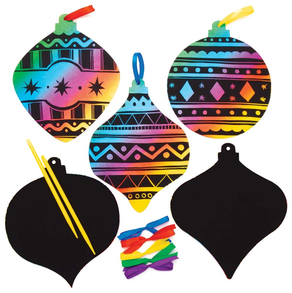 Baker Ross Ornament Scratch Art Ornaments, Christmas Arts and Crafts (Pack of 10)