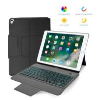 Veroyi iPad Keyboard Case 9.7 for New iPad 2018 6th Gen iPad Pro 2017 5th Gen iPad Air 2 Air 1 Slim Leather Folio Protective Case Cover Wireless BT Keyboard with 7 Color Backlit Auto Sleep Wake
