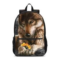 FeHuew 3D Wolf Flowers Girls Backpacks kids Shoulder Bag Casual Daypack for Unisex Teens