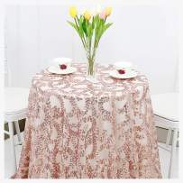SoarDream New Year Tablecloth 50inch Round Shiny Rose Gold Flower Sequin for Christmas Party Prom Wedding