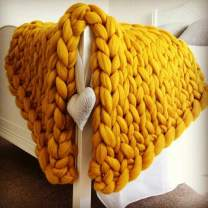 Chunky Knit Blanket for Bed Super Soft Chunky Knit Throw Blanket Chunky Knit Blanket for Your Bed Or Sofa Decor A Beautiful Chunky Blanket for Any Room (Yellow, 39.4x78.7 Inch)