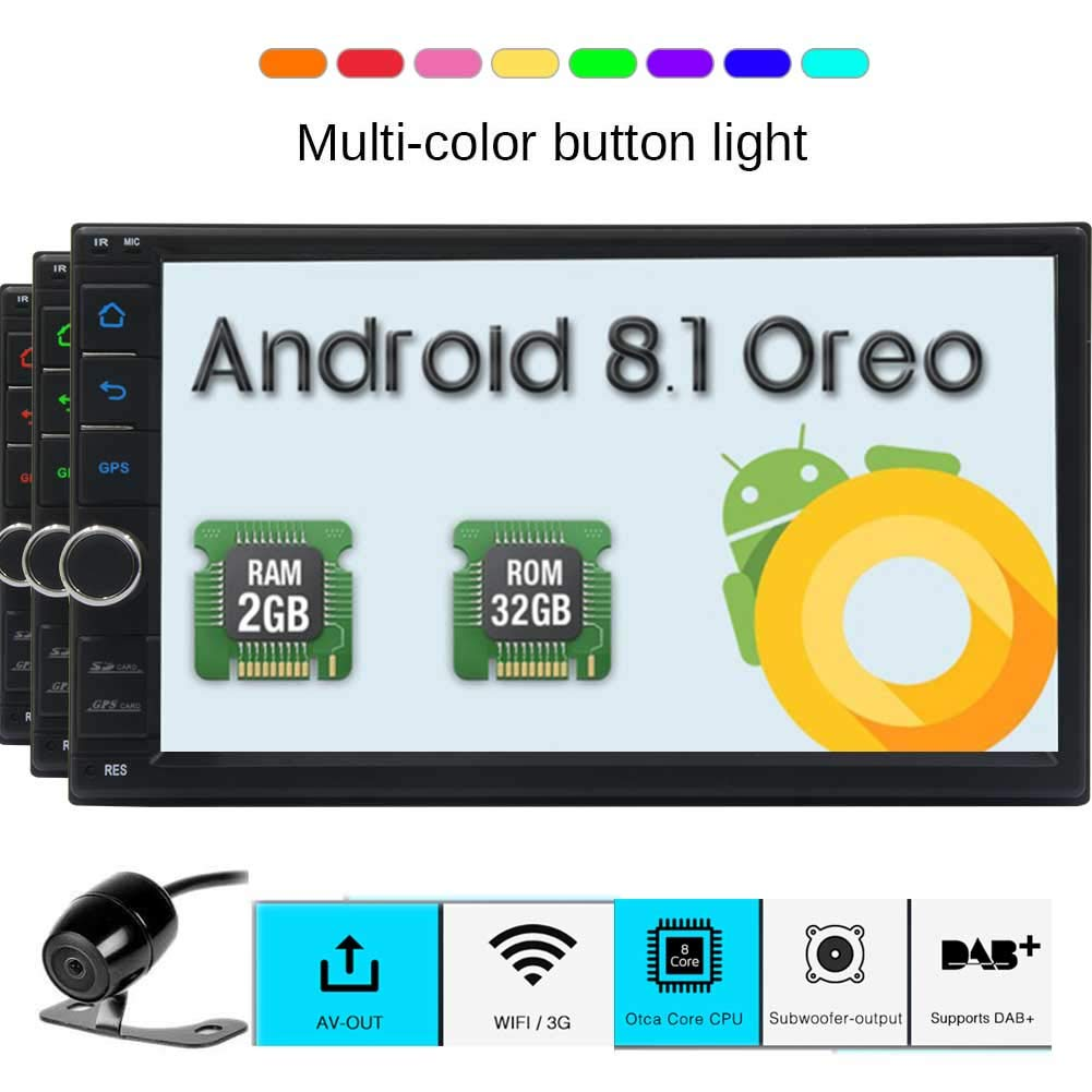 Android Double Din Car Stereo System Bluetooth GPS Navigation 2 Din Car in Dash Radio Receiver Video Free Rear Camera Support WiFi Model Mirror Link/USB/SD/AM/FM/OBD2/DAB External GPS Antenna