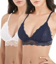 Lace Bralettes for Women Adjustable Strap Sexy V Neck Unpadded Wire Free Incomeplete See Through