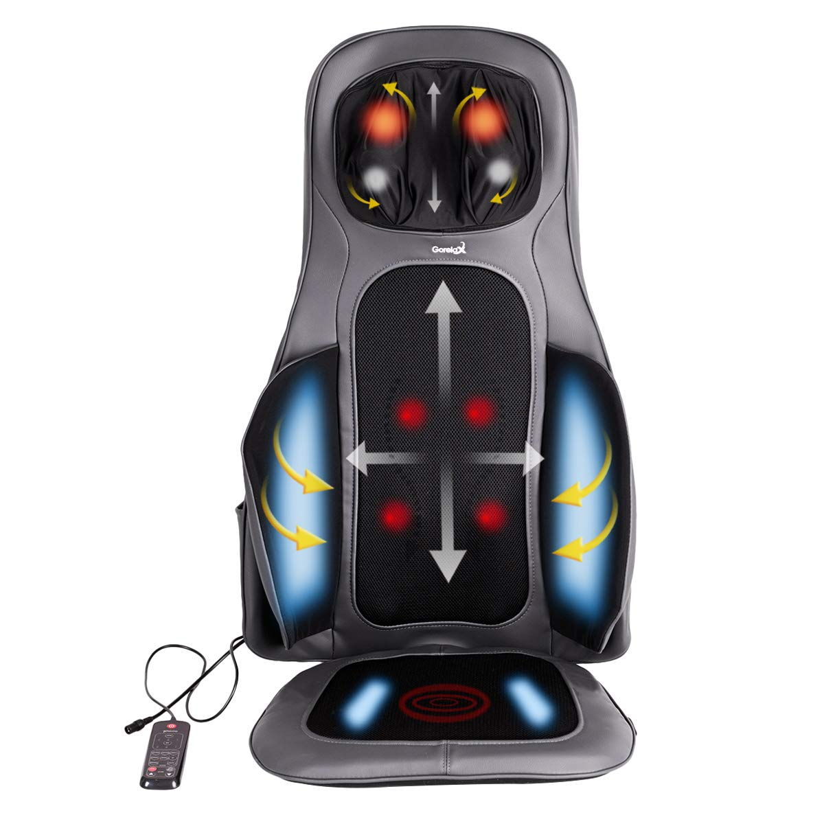 Giantex Back And Neck Massager Shiatsu Massage Seat Cushion With Heat Full Back Deep Kneading Massage Mat Upper Low Back Heated Massager With Vibration Home Office Chair Massage Pad Dark Gray