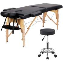 Yaheetech 2 Folding Massage Table with Rolling Stool Portable Massage Bed Spa Bed Stool Adjustable Swivel Salon Chair Massage Therapy Table with Headrest & Armrest Black