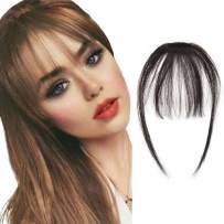 careonline Clip In Human Hair Bangs Natural Real Human Hair Extensions Air Bangs With Temple One Piece Clip On Hairpiece Flat Fringe Bangs Hand Tied Straight For Women(Dark Black)